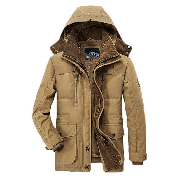 1f2fd93e86 Mens Thick Fleece Winter Coat Hooded Outdoor Solid Color Jacket - Khaki L  COD