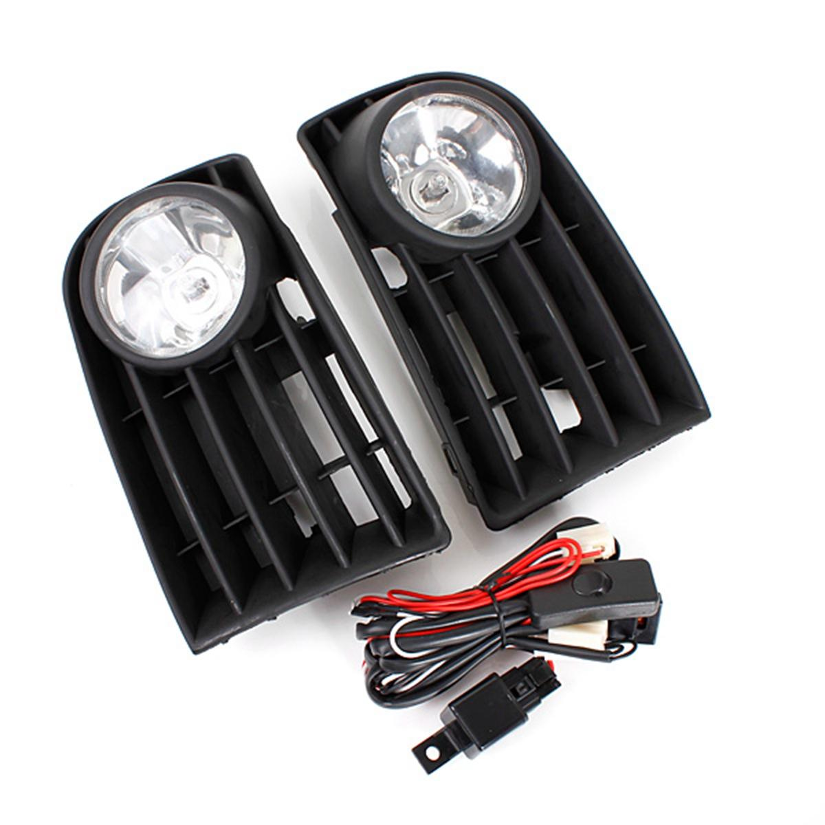 Car Front Bumper Fog Lights Grill Kit with 55W H3 Bulb White for VW Golf  Mk5 Rabbit 06-09
