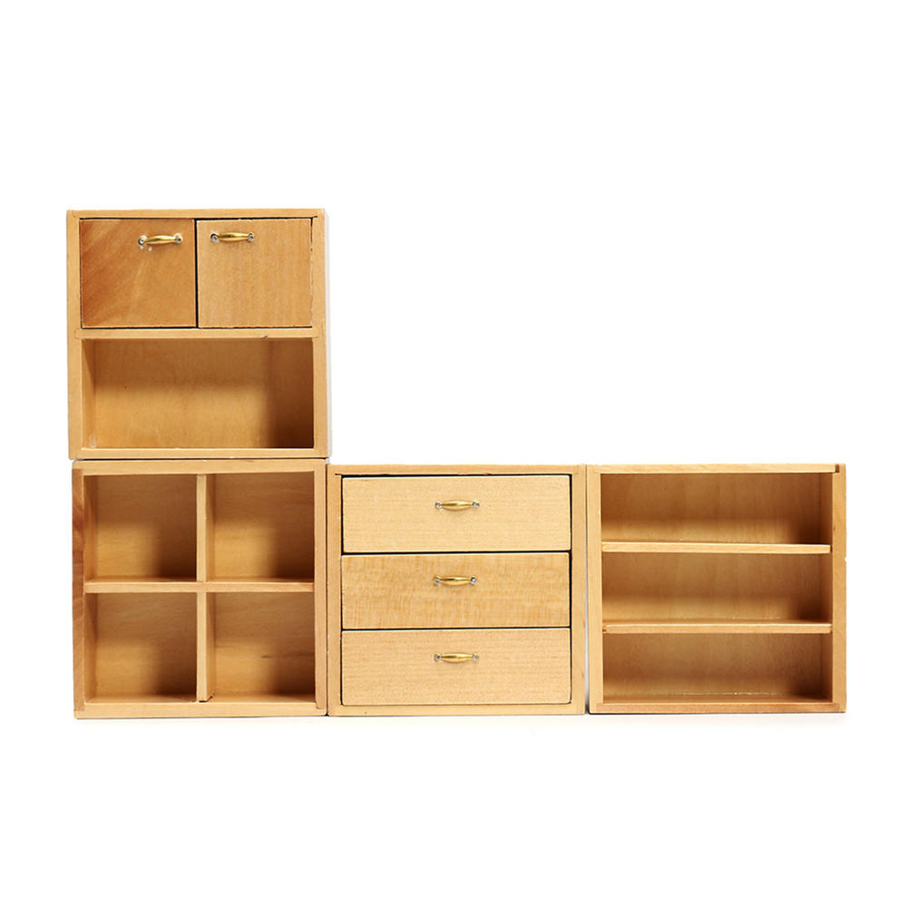 1 12 Doll House Accessories Wood Furniture Cabinet Cupboard With 4