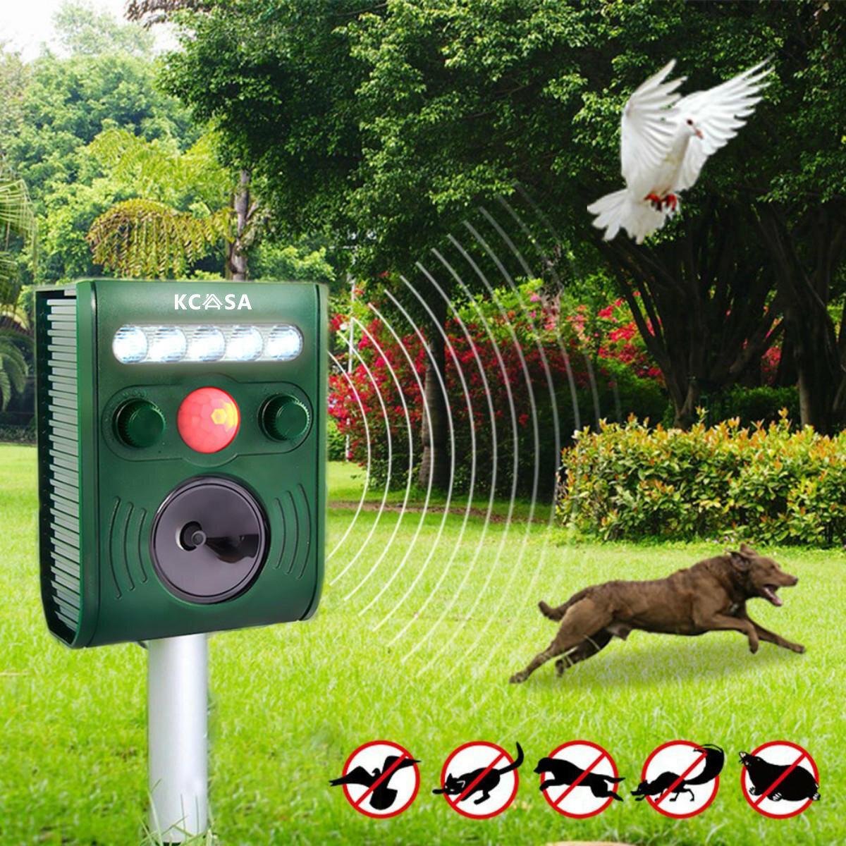 KCASA KC-JK369 สวน อัลตราโซนิก PIR เซนเซอร์ โซลา Animal Dispeller ไฟกระพริบแข็งแรง สุนัข Repeller