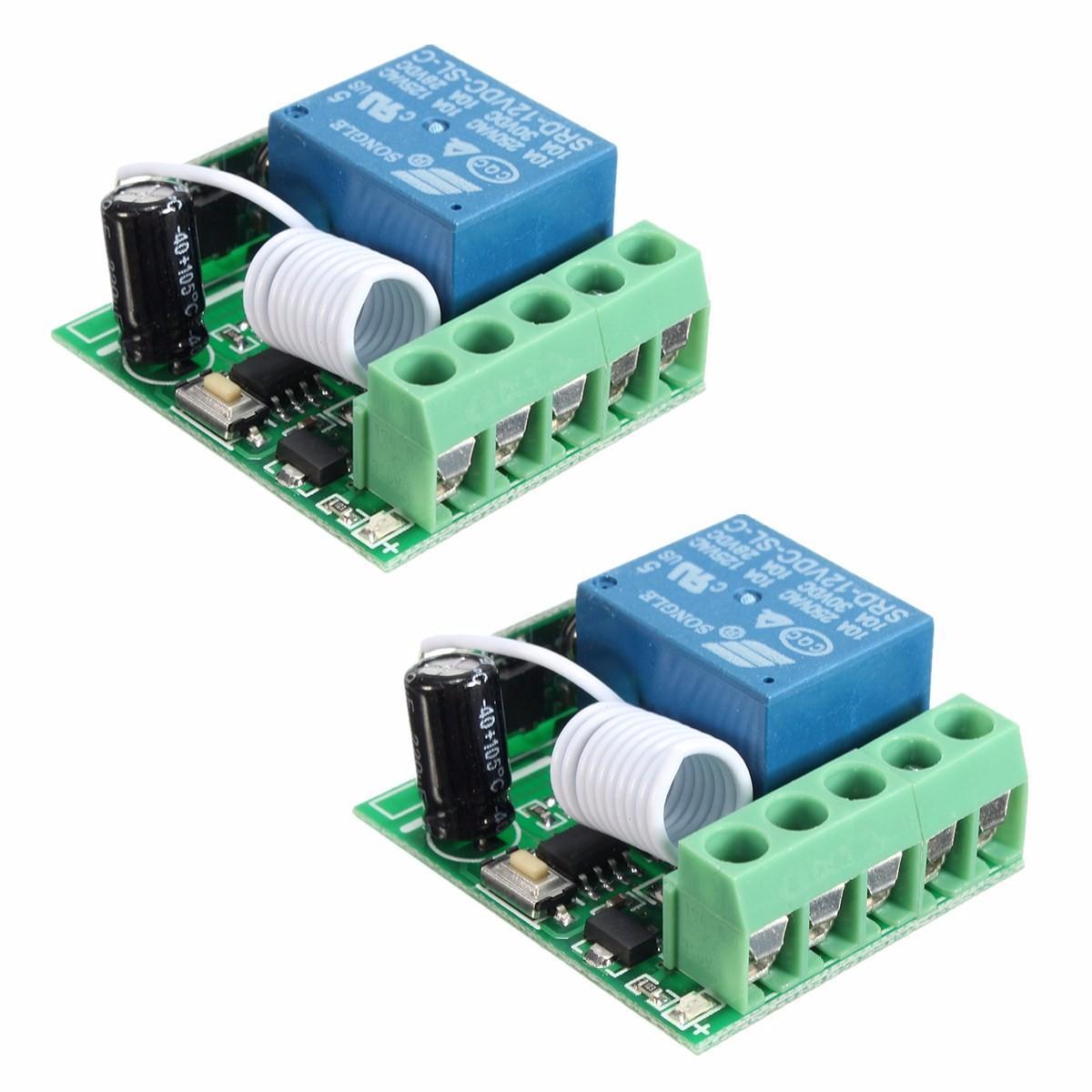 2Pcs DC12V 10A 1CH 433MHz Wireless Relay RF Remote Control Switch Receiver