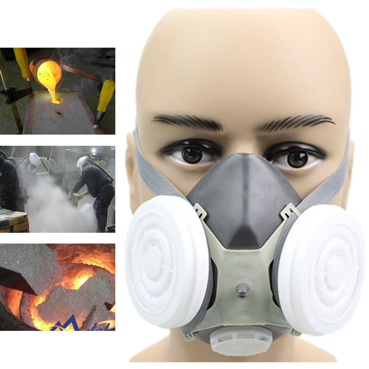 Spray Paint Mask >> Anti Dust Respirator Gas Safety Half Face Mask Dual Filter Chemical Spray Painting Tool