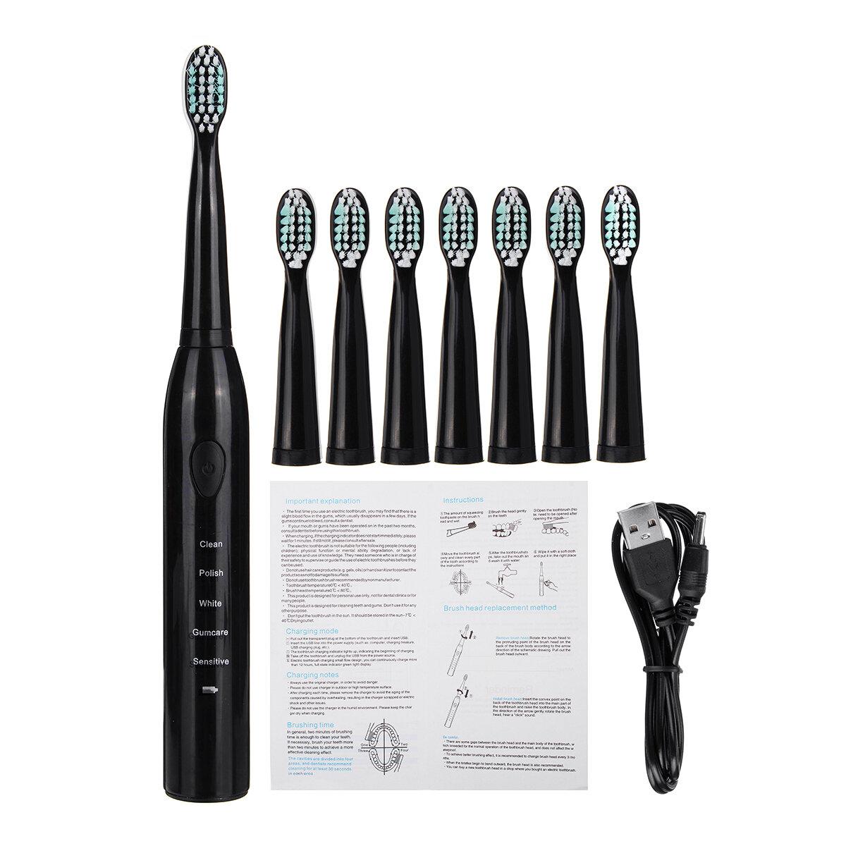 5 modalità di spazzolino elettrico Sonic Power IPX7 impermeabile con 8 teste Pennello