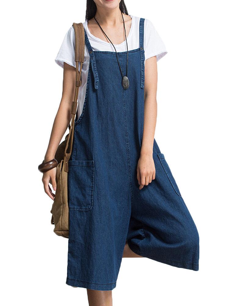 S-5XL Plus Size Women Loose Denim Blue Strap Pocket Jumpsuit Trousers