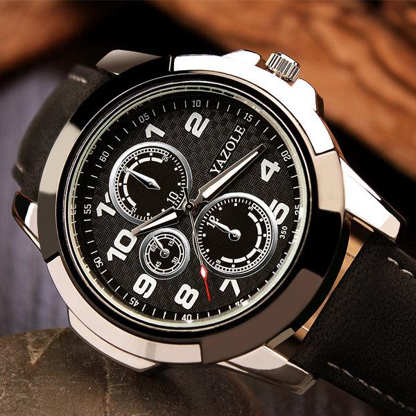 YAZOLE 350 ファッション メンズクォーツウォッチ  ラグジュアリー  レザーストラップ  ビジネス腕時計