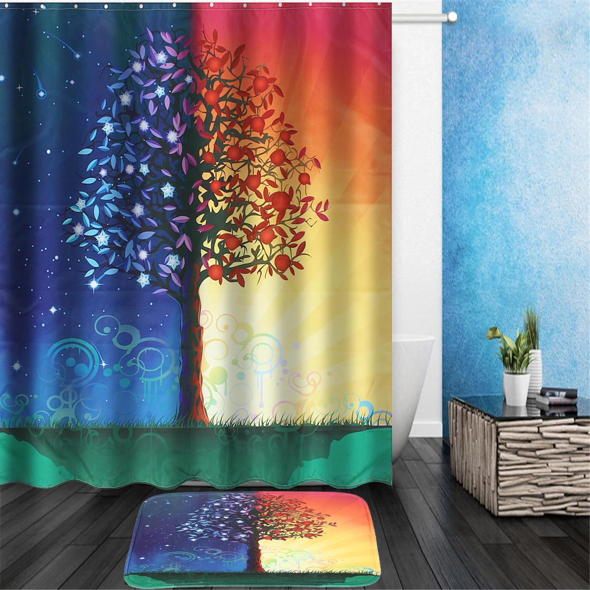Day & Night Tree Shower Curtain Liner Bathroom Mat Set w/ Hooks Polyester Fabric