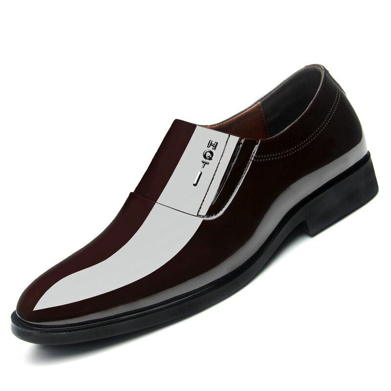 Men Soft Formal Business Pointed Toe Slip-on Oxfords
