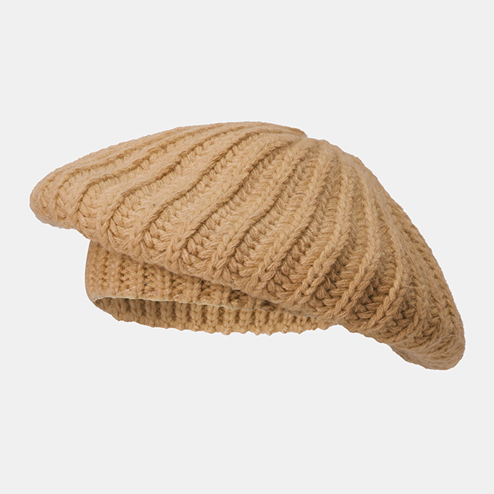 Women Rabbit Hair Blend Knitted Hat Solid Color Thicken Warmth Beret Cap