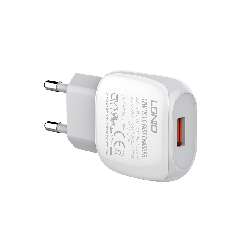 LDNIO A1306Q EU 18W Single Port QC3.0 Fast Charging USB Wall Charger for Samsung Galaxy S21 Note S20 ultra Huawei Mate40