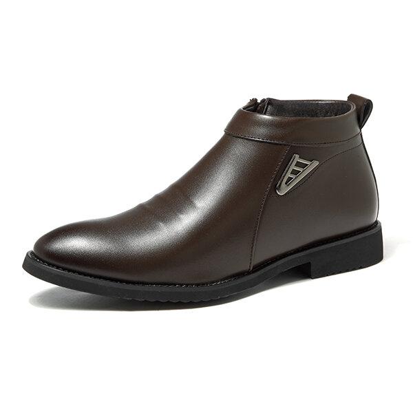 आराम से पुरुषों आरामदायक व्यापार पु चमड़ा फर अस्तर साइड जिपर पैर की अंगुली टखने जूते बताया