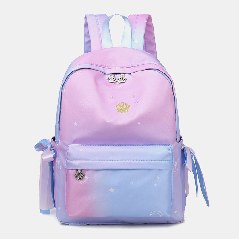 Women Oxford Color Gradient Earphone Hole BowKnot Casual Studeng Bag Backpack