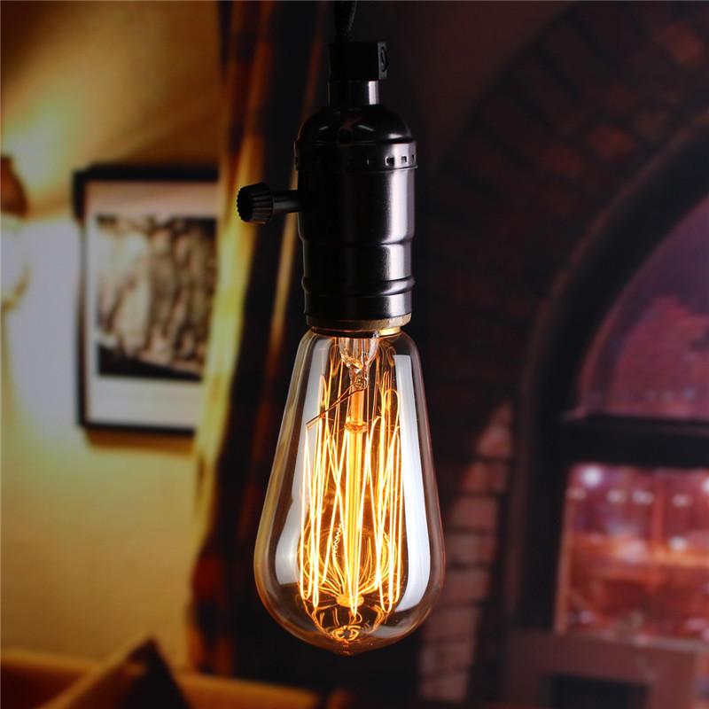 E27 60W ST58 Edison Bulb Antique Filament Lamp Retro Vintage Light 220V/110V
