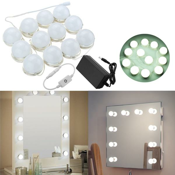 Hollywood Style 12Bulbs White LED Vanity Mirror Lights Kit + US Adapter +Dimmer DC12V