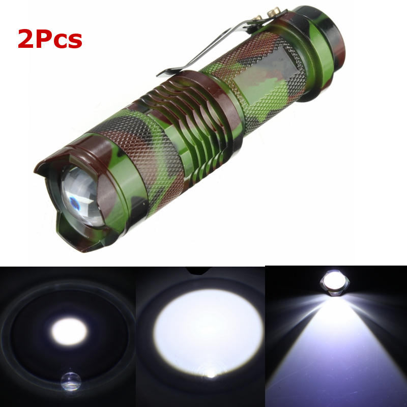 2Pcs Camuflaje MECO Q5 500LM Multicolor Zoomable Mini LED Linterna 14500 / AA