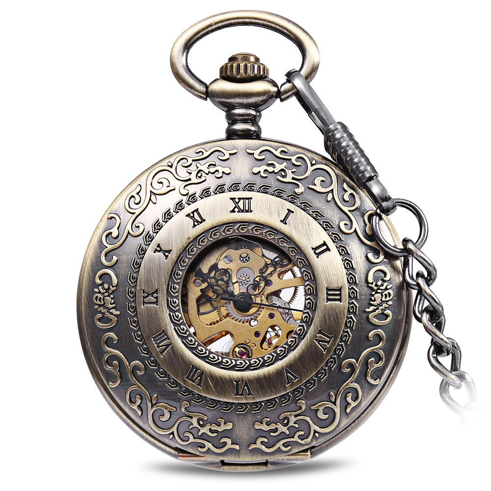 JIJIA JX009 Carved Flower Cover Hollow Cover Alloy Bronze Mechanical Pocket Watch