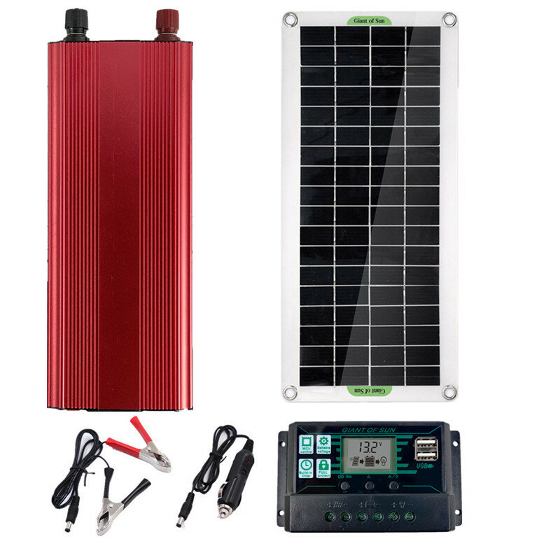 Solar Power System Inverter Kit 10A/30A/60A/100A Charge Controller 2000W Solar Inverter Set
