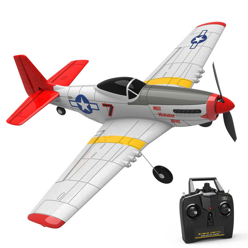 Eachine Mini Mustang P-51D EPP 400mm Wingspan 2.4G 6-Axis Gyro RC Airplane Trainer Fixed Wing RTF One Key Return for Beginner With 3 Batteries