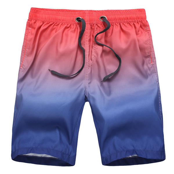 Summer Beach Casual Holiday Surf Swim Gradient Color Printing Quick Dry Loose Board Shorts for Men