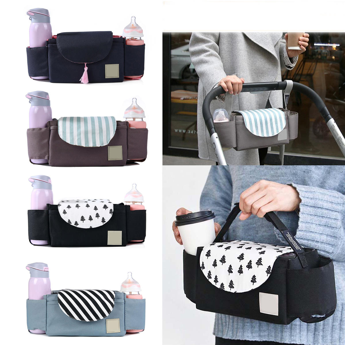 Outdoor Travel Baby Strollers Storage Bag Organizer Pram Buggy Pushchair Cup Diaper Hanging Pouch фото
