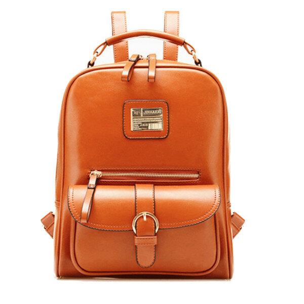 942817d68924 PU Leather Vintage Women Backpack Student School Bags Travel Rucksack