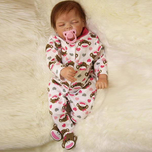 22inch Reborn Baby Doll Silikon Handgjorda Lifelike Girl Play House Toy