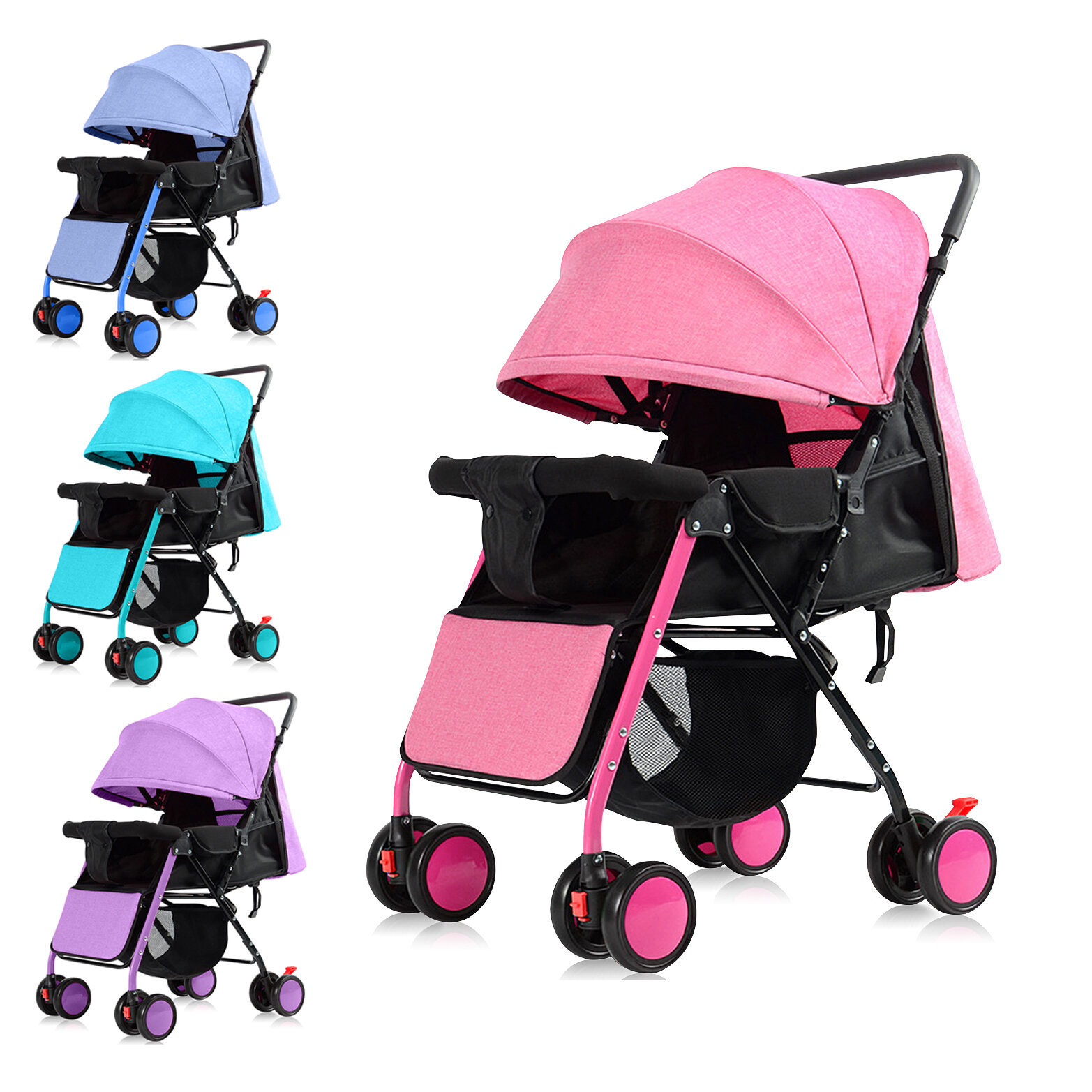 Lightweight Shake-proof Baby Stroller With Adjustable Pedal Folding Portable Baby Carriage Trolley For 0-3 Years Old