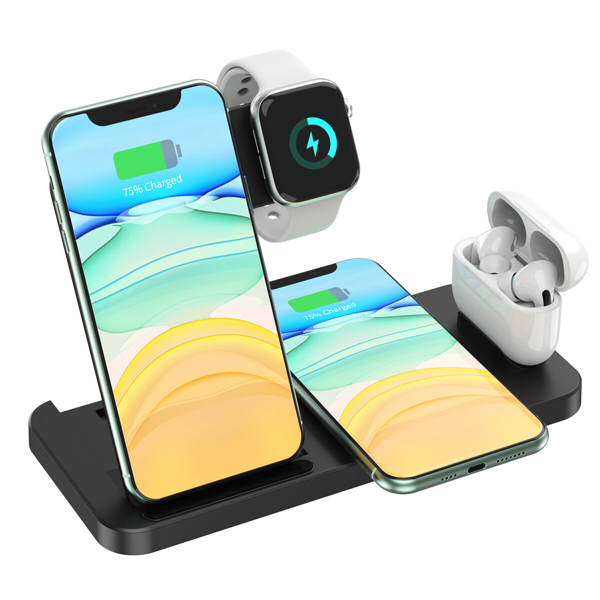 4-In-1 Wireless Charging Station 15W Fast Dock Charger Stand Phone Watch Pods Support Wireless Charging Equipment