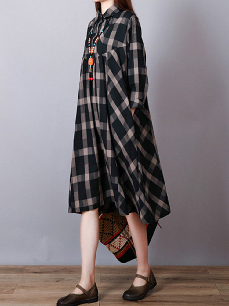 Women Vintage Long Sleeve Plaid Lapel Loose Shirt Dress