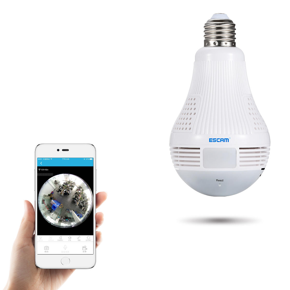 ESCAM QP136 960P Bulb WIFI IP Security Camera 360 Degree Panoramic H 264  Infrared Indoor Motion Detection