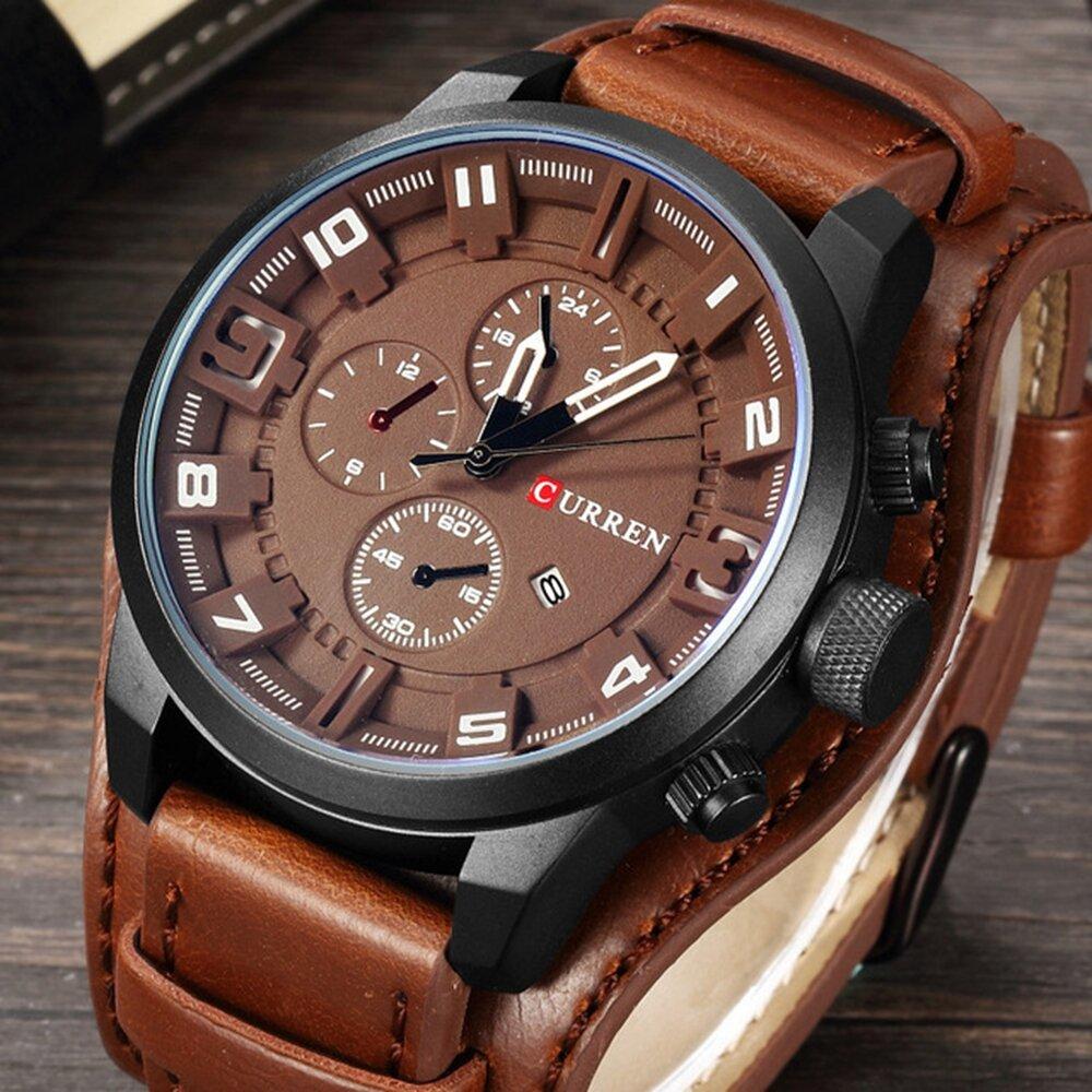 CURREN 8225 Fashion Men Quartz Wristwatch Creative Leather Strap Sports Watch