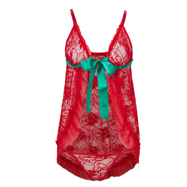 Plus Size Sexy Red Lace Green Bow Open-front Honeymoon Strawberry Lingerie Set Babydoll
