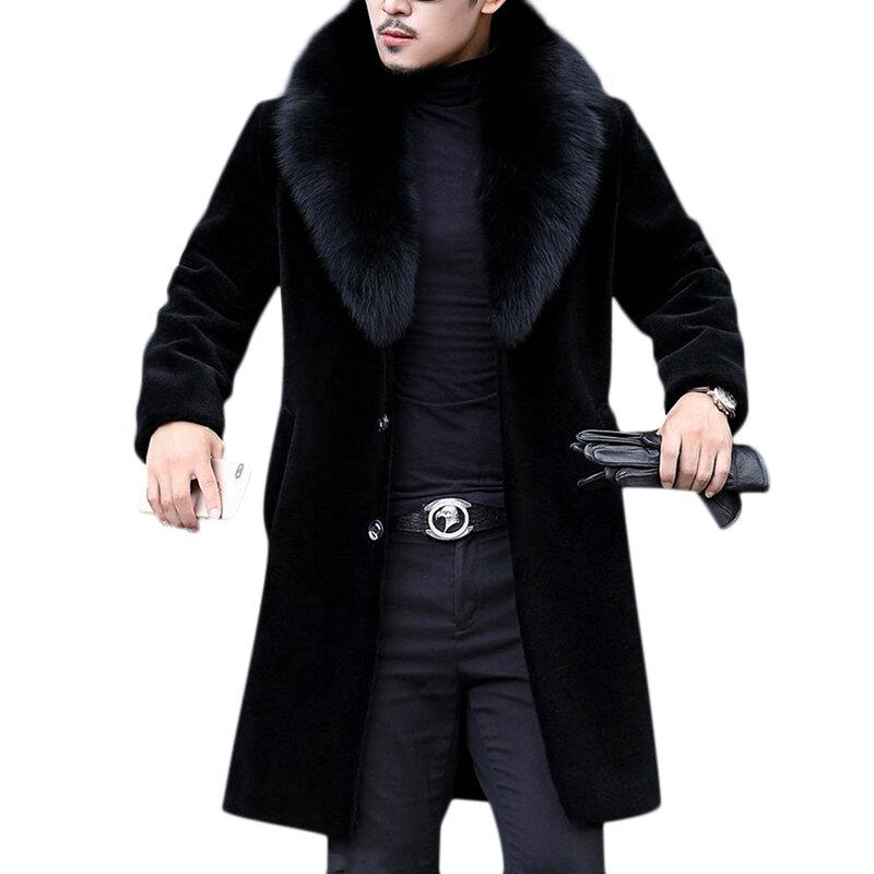 6792dbf33e96 Men Faux Fur Coat Slim Fit Mid Long Winter Warm Black Casual Jacket Coats