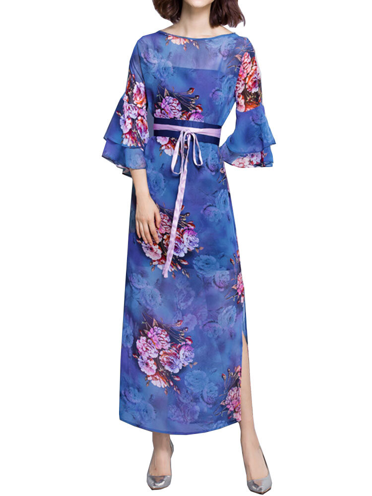 Vintage Women Flower Printing Split Chiffon Maxi Dress With Belt