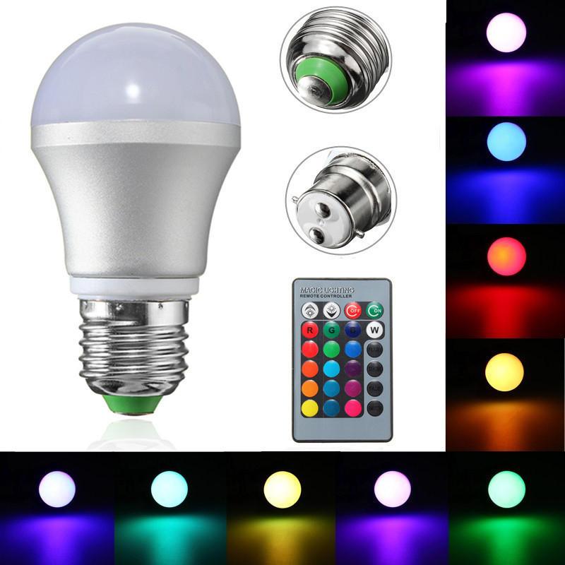 E27 / b22 3w dimmable rgb LED cambio de color de luz bulbo + control remoto ac85-265v
