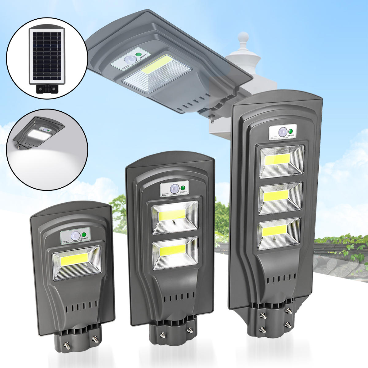 20W 40W 60W Solar Powered PIR Motion Sensor Street Lamp Outdoor Garden Yard  Light