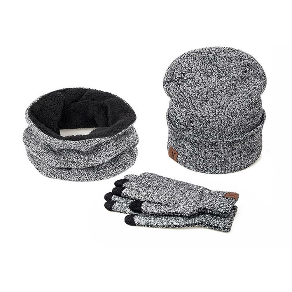 3つの冬のスキーウォームと手袋を設定コットンユニセックスハットスカーフ手袋男性の女性のための固体