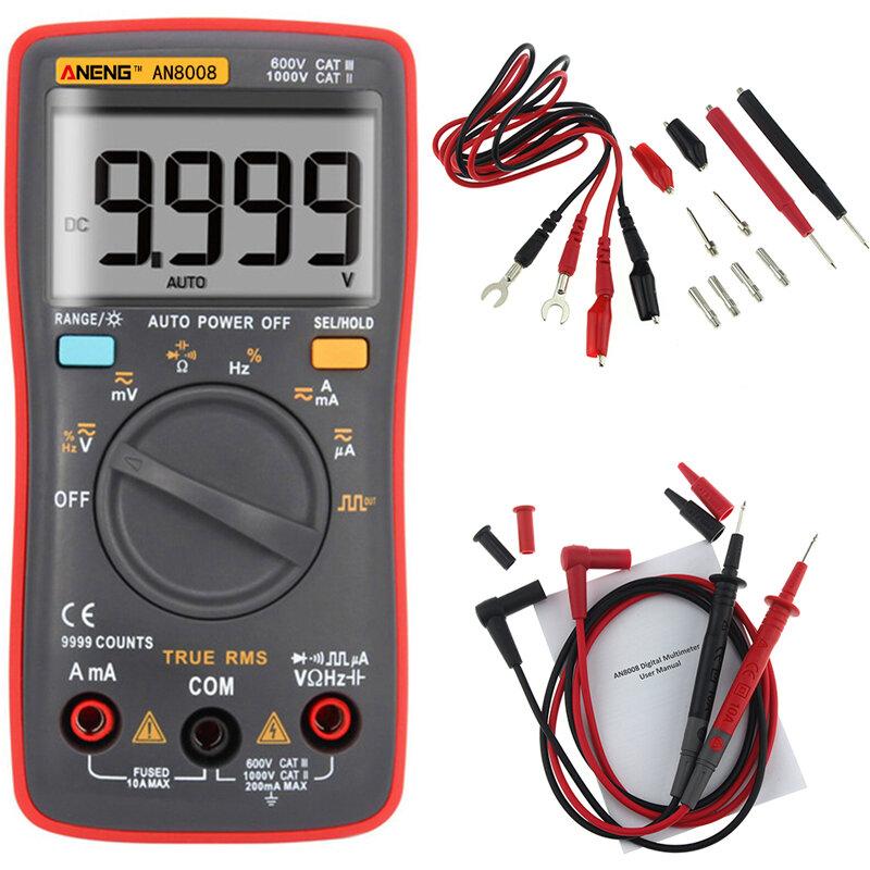 ANENG AN8008 reiner RMS digitaler Multimeter 9999 Zählt Hintergrundbeleuchtung AC DC Strom Spannungswiderstand Frequenz Kapazität Rechteckschwingung Ausgang