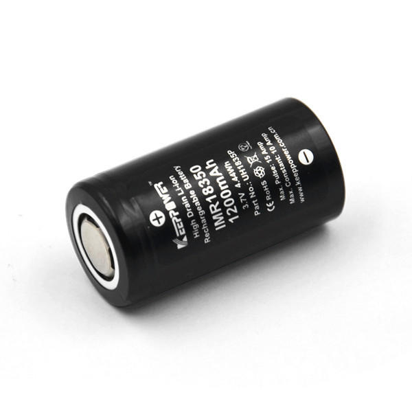 1Pcs Keeppower 18350 Battery IMR18350 10A discharge 1200mAh UH1835P Unprotected Li-ion Rechargeable Battery for Flashlights Household Tools