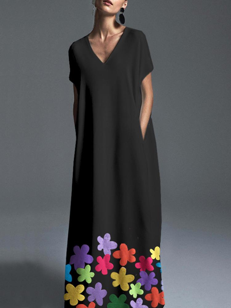 Women Bohemian V-neck Short Sleeve Floral Maxi Dress