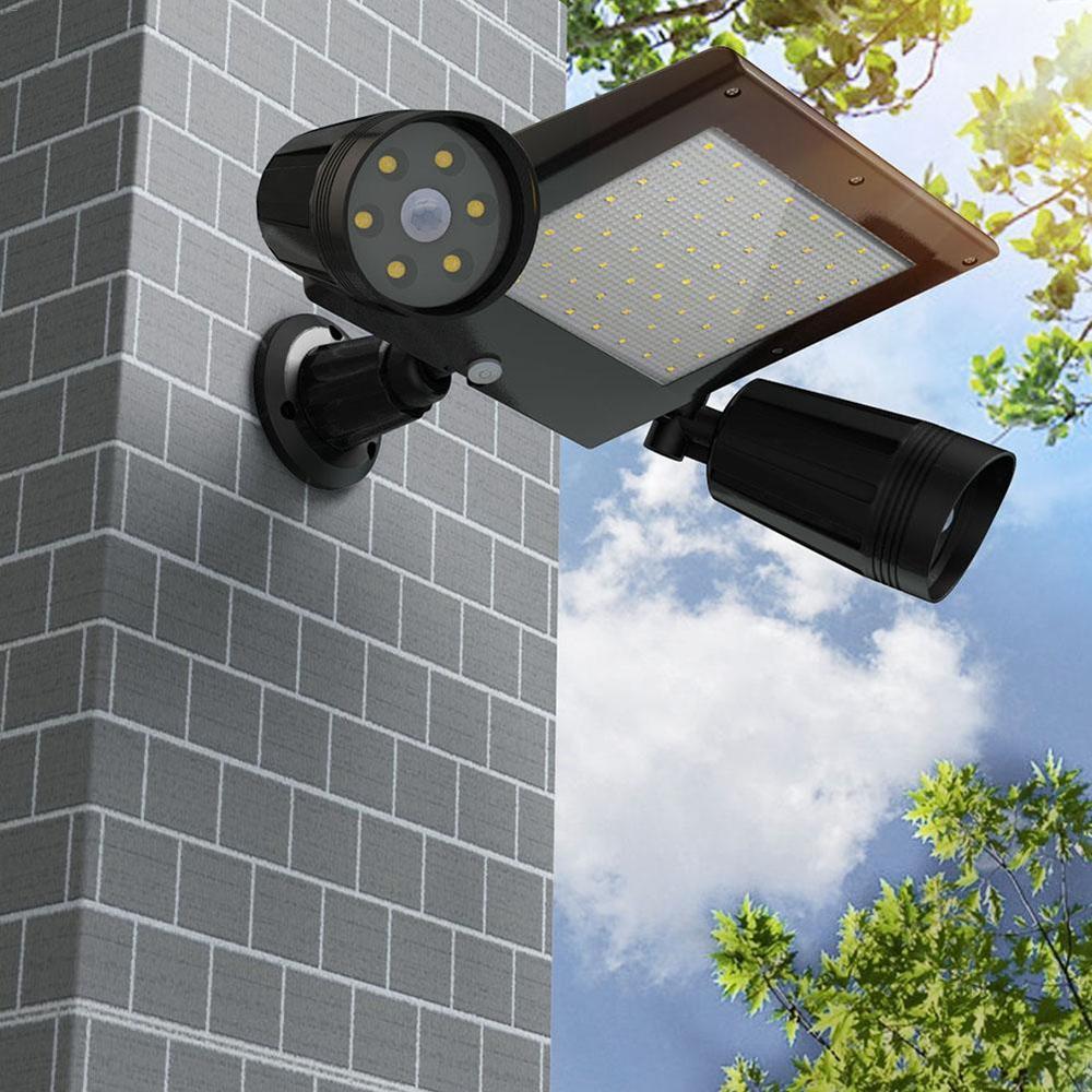 Solar Powered 76 LED Triple Head PIR Motion Sensor Flood Light Spotlight Outdoor Garden Lamp
