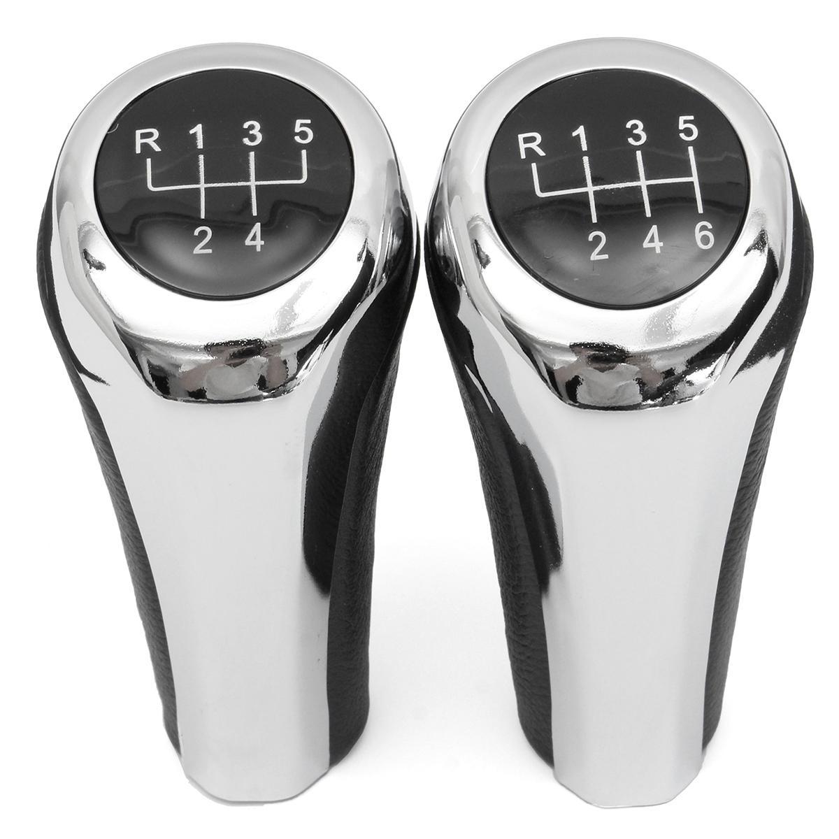 5 6 Speed Leather Chrome Aluminum Manual Gear Shift Knob For BMW E82 E90 E91 E60 E63 E83 E84 E53, Banggood  - buy with discount