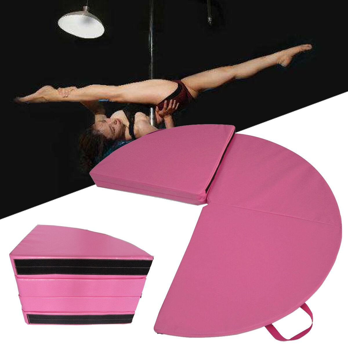 62x1.1inch Portable 4 Folding Pole Dance Safety Mat Floor Home Gym Exercise Fitness Pad фото