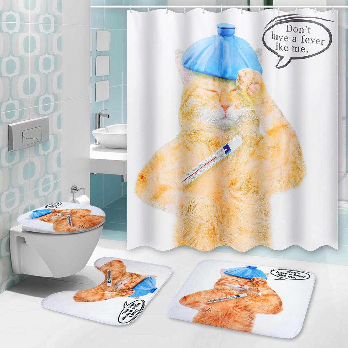 150 180x180cm Cat Bathroom Waterproof Shower Curtain With 12 White Plastic C Shaped Hooks