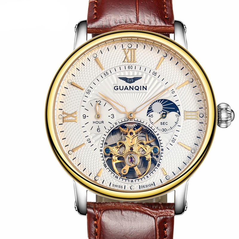 GUANQIN GJ16036 Skeleton Moon Phase Auto Mechanical Watch Leather Strap Men Watches