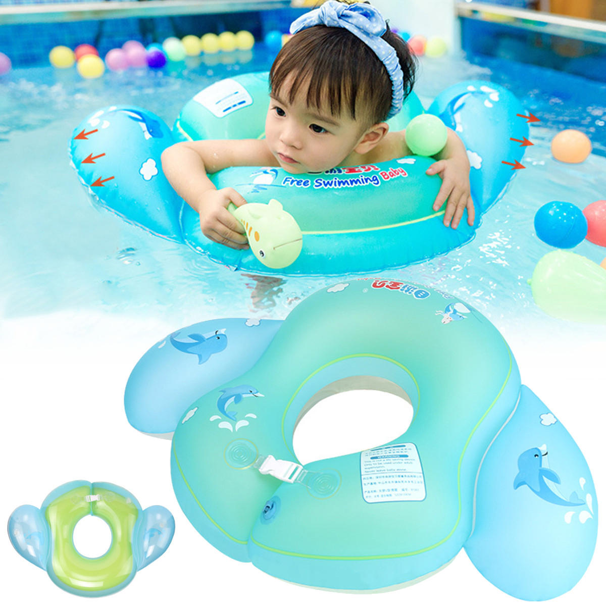 Outdoor Baby Float Swimming Ring Kids Inflatable Infants Swim Trainer Pool Water Fun Toy