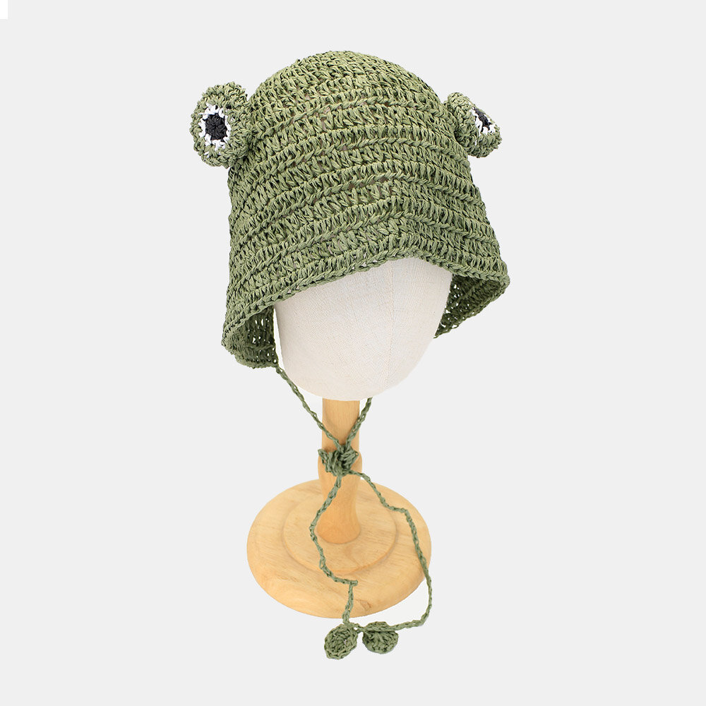 Women Straw Woven Solid Color Frog Shape Cute Fashion Sunscreen Straw Hat Knitted Hat