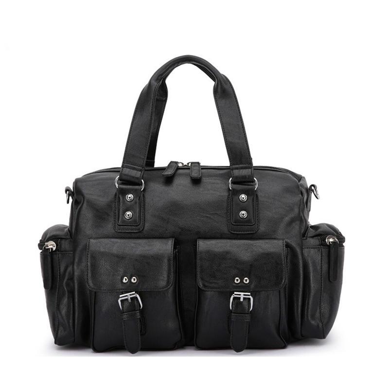 Men PU Leather Solid Vintage Large Capacity Handbag Outdoor Bag Crossbody Bag