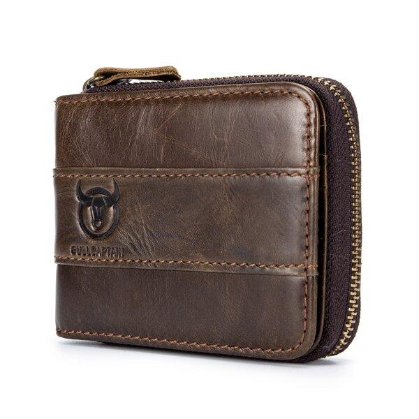 Bullcaptain RFID Antimagnetic Vintage Genuine Leather 11 Card Slots Coin Bag Wallet For Men