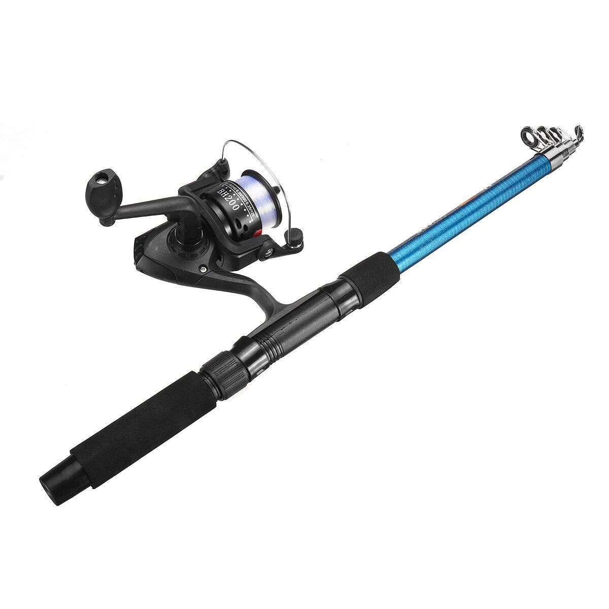 1.8M Folding Fishing Rod Set With Fishing Reel Telescopic Sea Fishing Rod Spinning Glass Fiber Ultralight Hard Fishing R