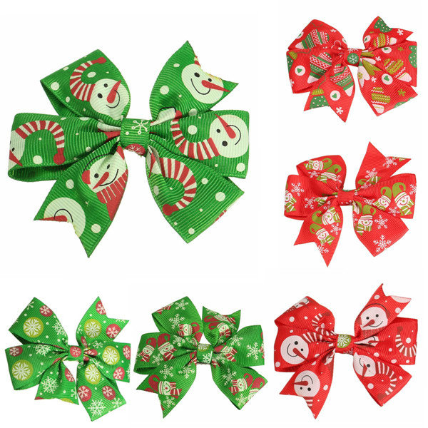 Christmas Hair Clips.Lovely Baby Girls Christmas Hair Clips Hairpins Bowknot Xmas Accessories 6 Different Patterns